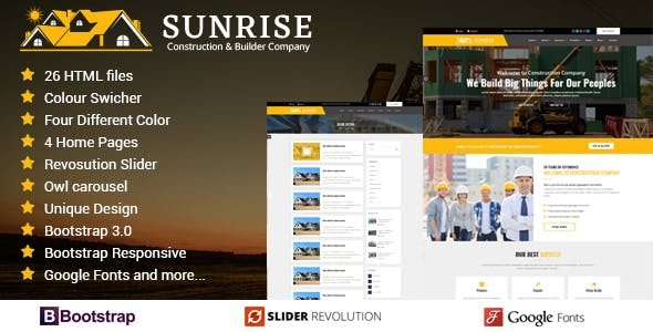 Construction html website templates from themeforest sunrise construction builder company responsive html template maxwellsz