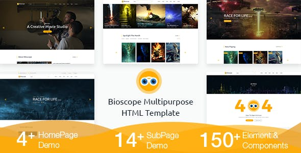 movie html website templates from themeforest