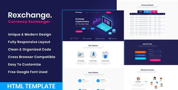 RexChanger - CryptoCurrency Exchanger HTML Template nulled theme