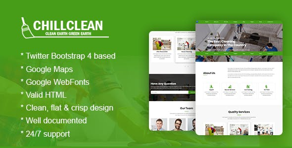 chillclean cleaning services html5 bootstrap4 responsive template
