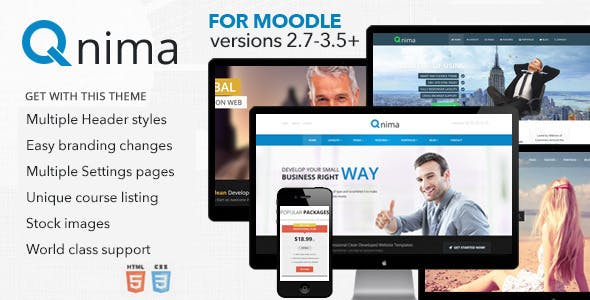 Qnima - Responsive MultiPurpose Moodle Template nulled theme download
