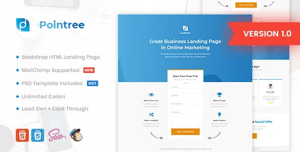 Professional corporate html website templates from themeforest pointree business html landing page template wajeb Images