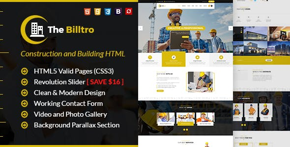 roofing html website templates from themeforest
