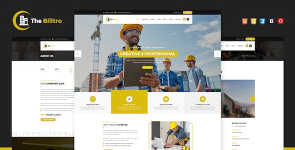 Html business website templates from themeforest the billtro construction html template the billtro construction html template flashek Images