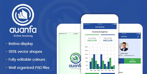 auanfa mobile app psd
