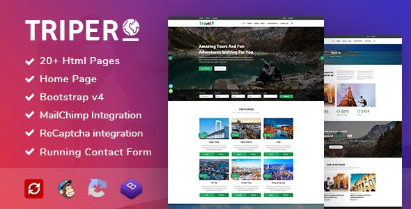 Html online store templates from themeforest triper creative tour travel hotel booking agency template maxwellsz