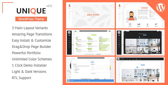 personal profile wordpress website templates from themeforest