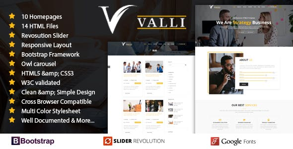 Html business website templates from themeforest valli corporate and business one page responsive html template friedricerecipe Image collections