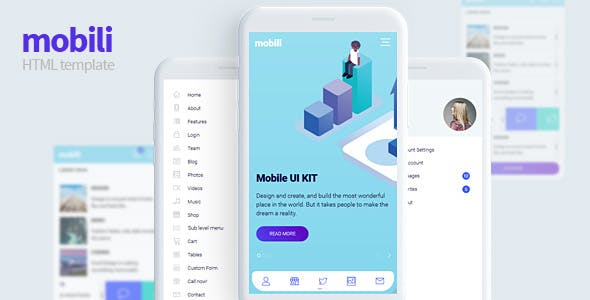 HTML Mobile Website Templates from ThemeForest