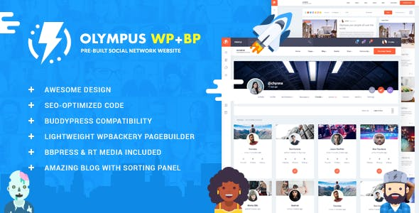 Olympus - Responsive Community & Social Network WordPress Theme nulled theme download
