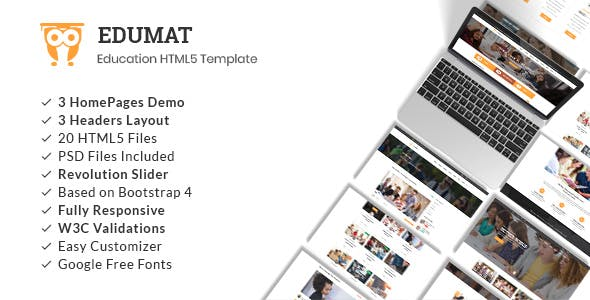 Student HTML Website Templates From ThemeForest