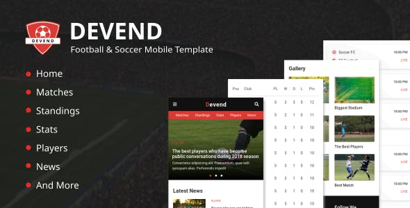 Devend Football Soccer Mobile Template By Astylers Themeforest