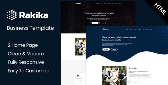Html business website templates from themeforest rakika one page business html template fbccfo Image collections