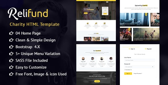 donations non profit html website templates from themeforest