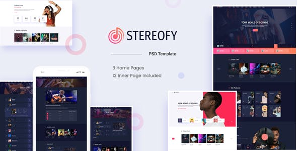 Stereofy Music And Podcast Psd Template