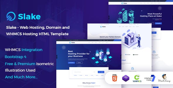 Slake Web Hosting Domain And Whmcs Html Template