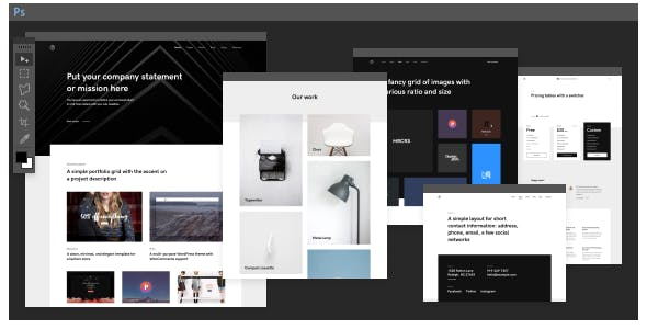 black and white templates from themeforest