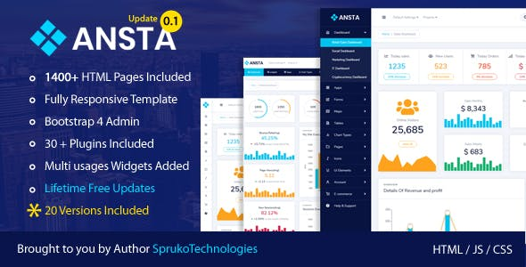 Ansta – Responsive Multipurpose Admin Dashboard Template  by sprukosoft