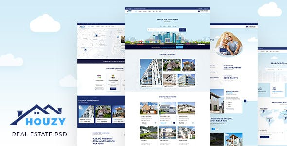 house for sale clear all houzy real estate listing psd template