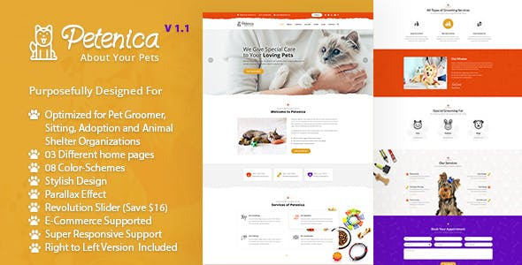 Pawrex Pet Sitter Groomer And Animal Shelter Html5 RTL Template