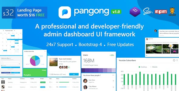 pangong developer friendly bootstrap 4 admin dashboard ui kit