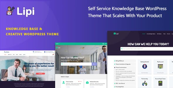 Lipi - Self Service Knowledge Base and Creative WordPress Theme nulled theme download