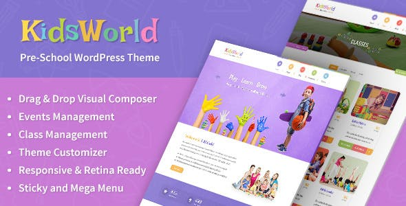 KidsWorld - Kindergarten, Child Care & Preschool Responsive WP Theme