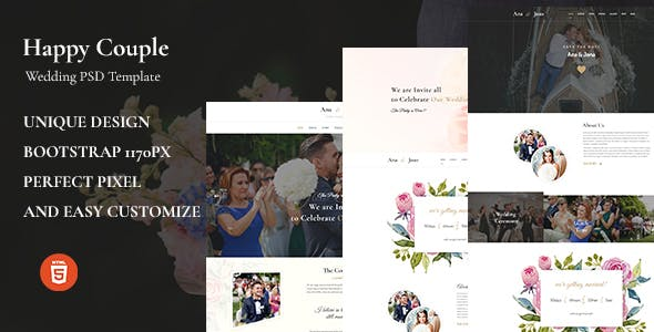Happy Couple - Wedding HTML5 Template nulled theme download