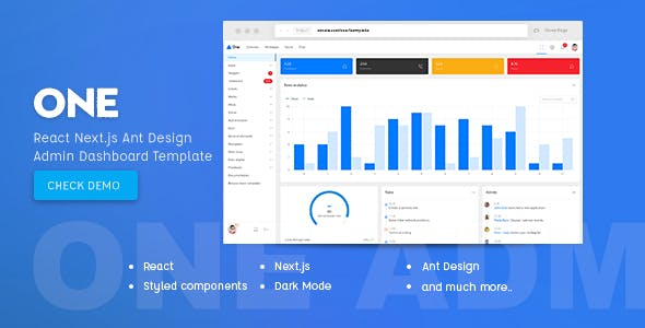 One - React Next js & Ant Design Admin Template by iamnyasha
