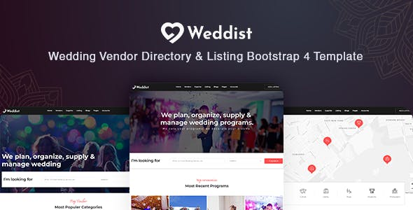 Weddist - Wedding Vendor Directory & Listing Bootstrap 4 Template nulled theme download