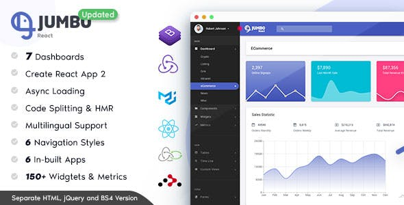 Jumbo React - Redux Material BootStrap Admin Template by g-axon