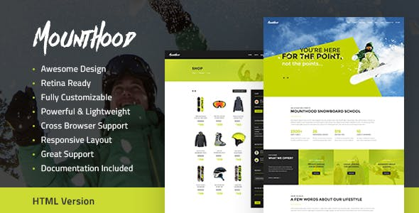 Mounthood | A Modern Ski and Snowboard School WordPress Theme