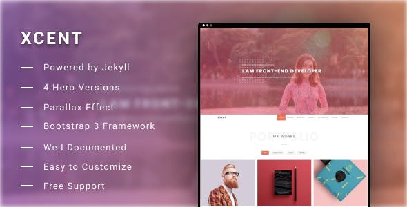 XCENT - Jekyll Personal Portfolio Template nulled theme download