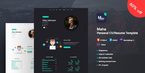 2019's Best Selling HTML Online CV & Resume Templates