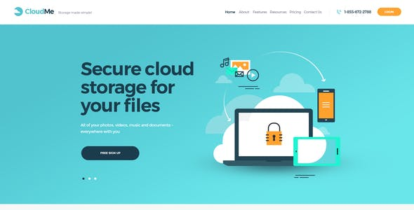 Cloudme Cloud Storage File Sharing Services WordPress Theme