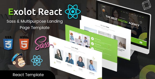 Exolot React - Multipurpose Landing Page Template free theme