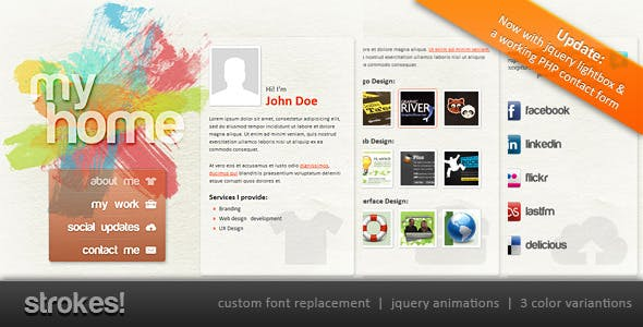 Transparent business card personal html website templates personal website template strokes reheart Gallery