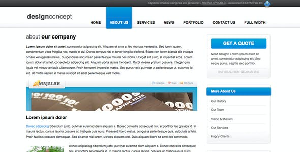 Fixed Width Company Profile HTML Website Templates