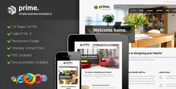 Simple business website templates from themeforest prime simple business template 3 wajeb Images