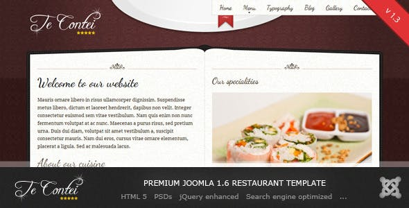 Recipe joomla templates from themeforest te contei joomla 16 restaurant template forumfinder Images