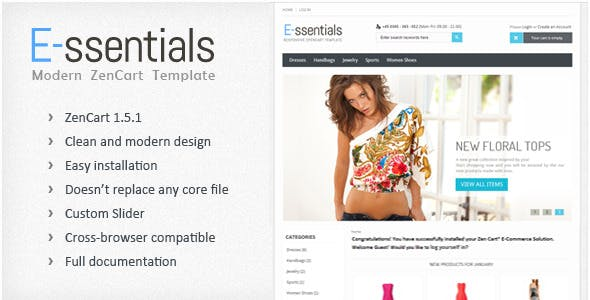 E-ssentials - Responsive ZenCart Template nulled theme download