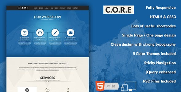 Case study template website templates from themeforest core one page responsive html5 template maxwellsz