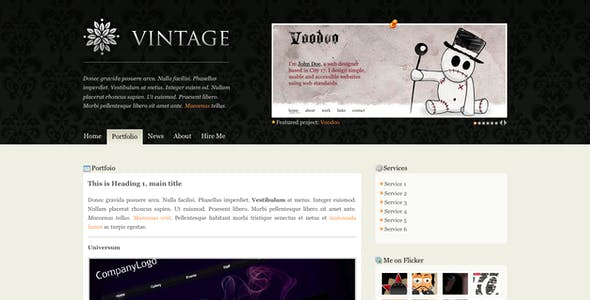 vintage website templates from themeforest