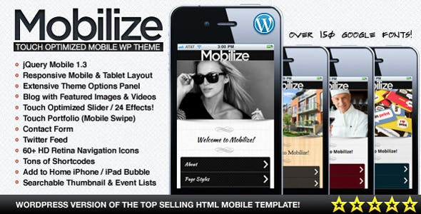 Mobilize - jQuery Mobile WordPress Theme nulled theme download