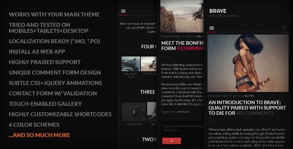BRAVE - A dark, clean, fully responsive WP theme nulled theme download