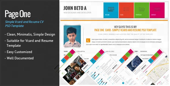 Design virtual business card psd templates from themeforest page one simple vcard and resume cv template flashek Gallery