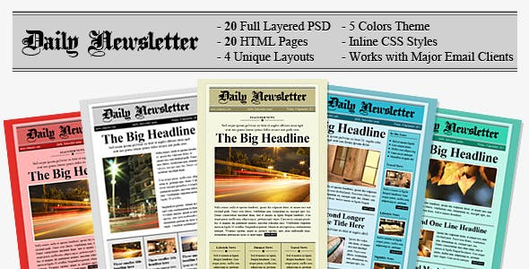 Newspaper Email Newsletter And Landing Page Templates