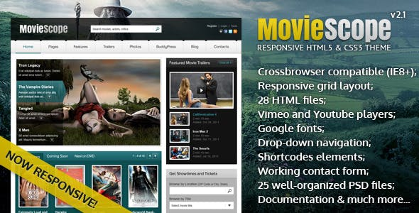 movie portal html website template from themeforest