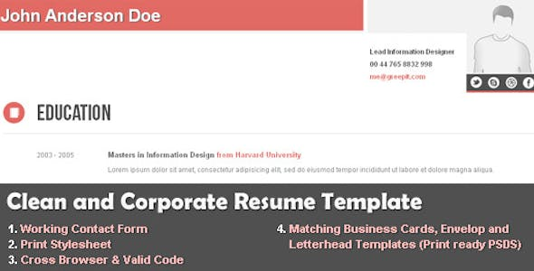 Letterhead website template from themeforest clean and corporate cv resume html template maxwellsz
