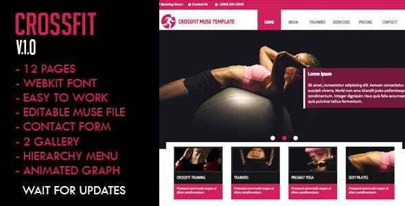 crossfit adobe muse themes muse templates from themeforest